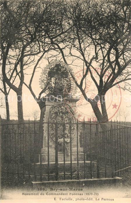 Bry sur Marne Monument du Commandant Podenas Stempel Bry sur Marne
