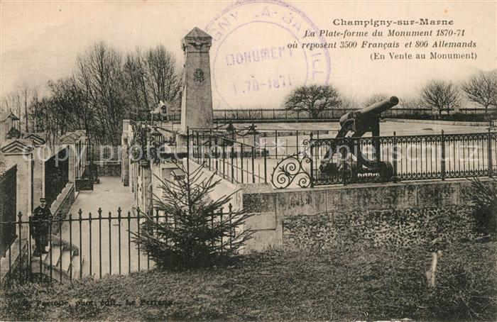 Champigny sur Marne Plate forme du Monument 1870 71 Monument aux Morts Canon Champigny sur Marne