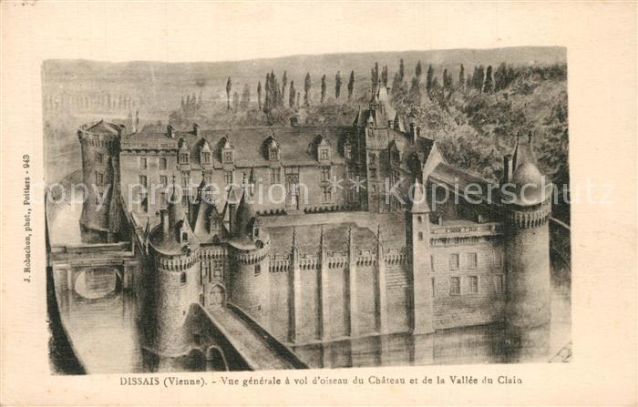 Mareuil sur Lay Dissais Vue generale a vol d'oiseau du Chateau et de la Vallee du Clain Mareuil sur Lay Dissais