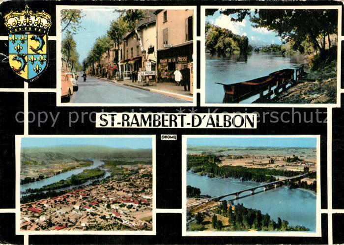 Saint Rambert d_Albon Une rue Bords de la riviere Pont vue aerienne Saint Rambert d Albon