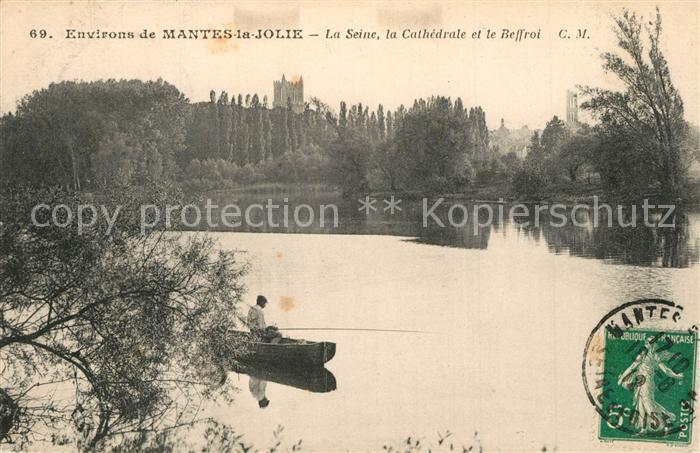 Mantes la Jolie Bords de la Seine la Cathedrale et le Beffroi Mantes la Jolie