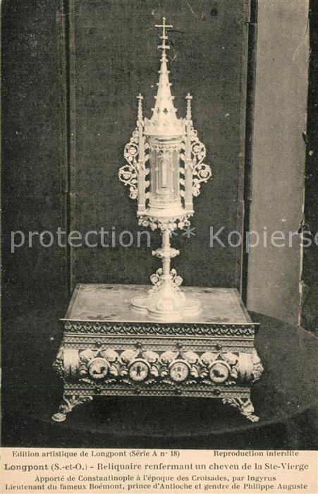 Longpont sur Orge Reliquaire renfermant un cheveu de la Sainte Vierge Longpont sur Orge