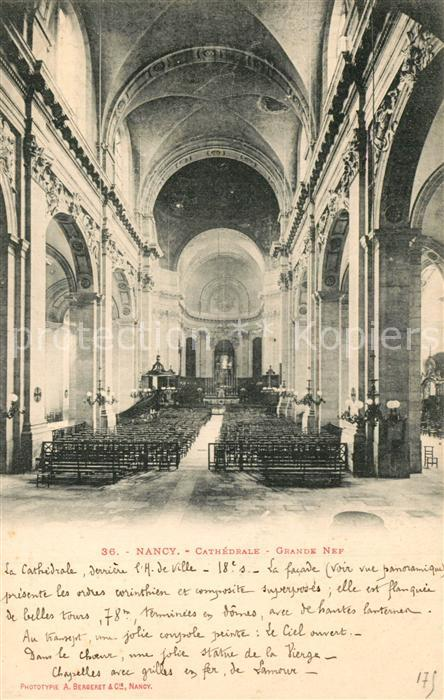 Nancy_Lothringen Cathedrale Grande Nef  Nancy Lothringen