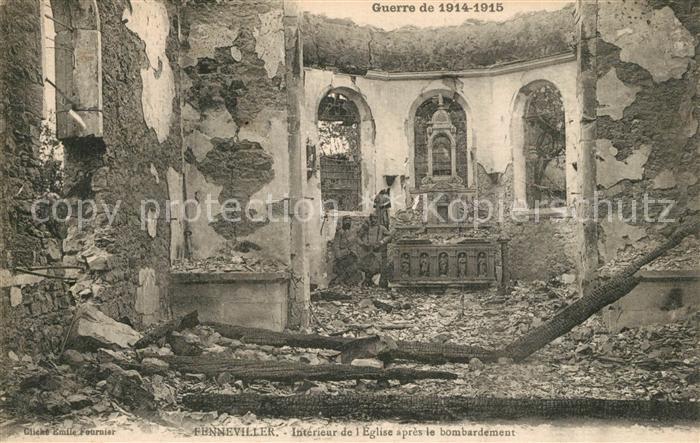 Fenneviller Interieur de l'Eglise apres le bombardement Fenneviller