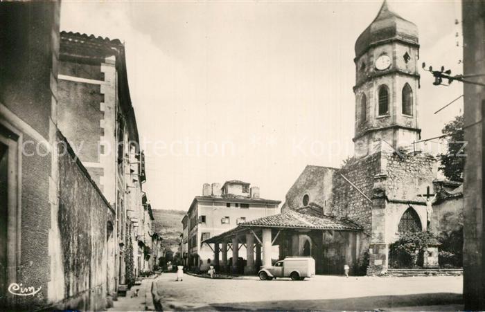 Le_Mas d_Azil Eglise et Grand Rue Le_Mas d_Azil