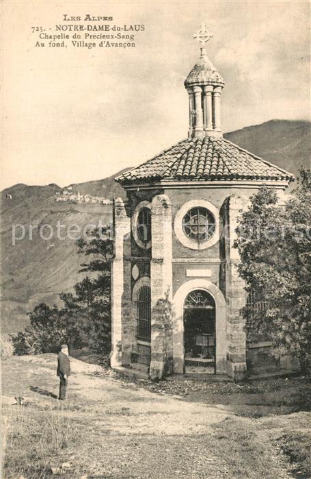 Notre Dame du Laus Chapelle du Precieux Sang au fond Village d Avancon Notre Dame du Laus