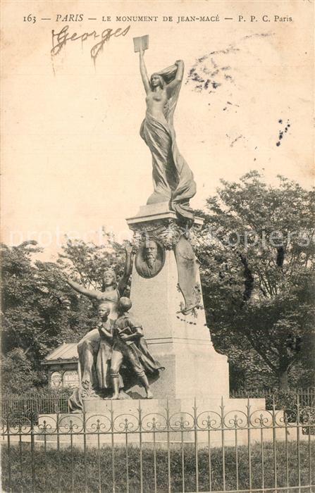 Paris Monument de Jean Mace Statue Paris