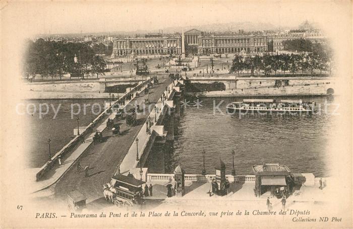 Paris Pont et Place de la Concorde vue prise de la Chambre des Deputes Paris