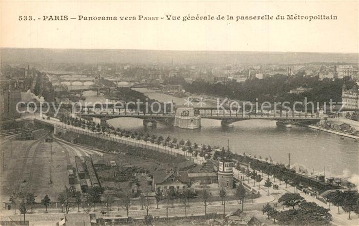 Paris Panorama vers Passy Passerelle du Metropolitain Paris