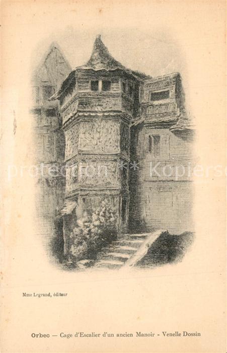 Orbec Cage d Escalier d un ancien Manoir Venelle Dossin Dessin Kuenstlerkarte Orbec