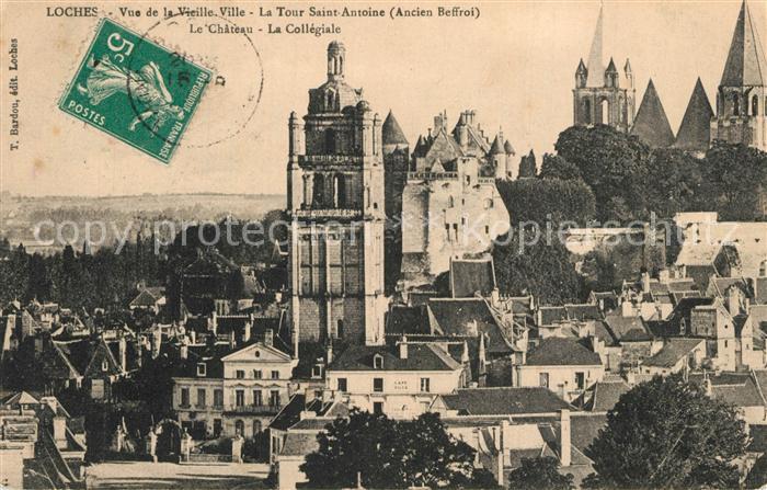 AK / Ansichtskarte Loches_Indre_et_Loire Vue de la vieille ville Tour Saint Antoine Chateau Collegiale Loches_Indre_et_Loire