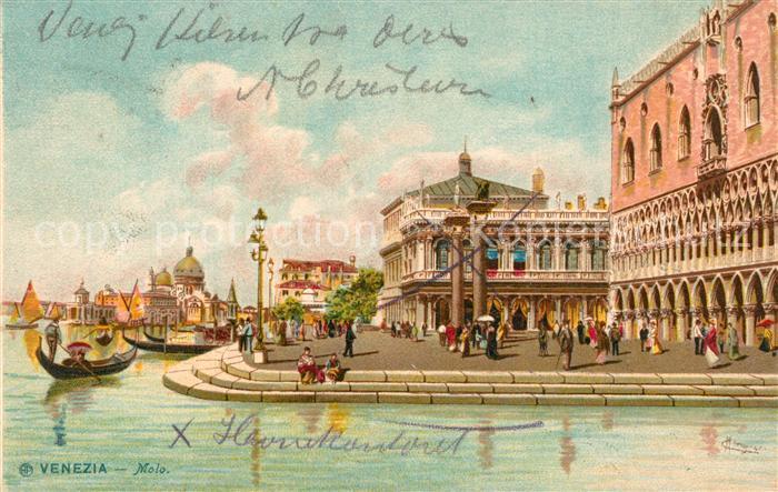AK / Ansichtskarte Venezia_Venedig Molo K?nstlerkarte Litho Venezia Venedig