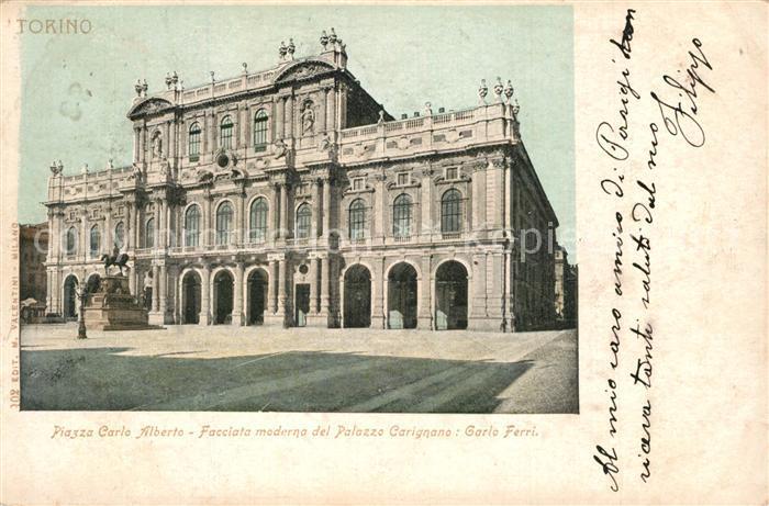 AK / Ansichtskarte Torino Piazza Carlo Alberto Palazzo Carignano Carlo Ferri Torino
