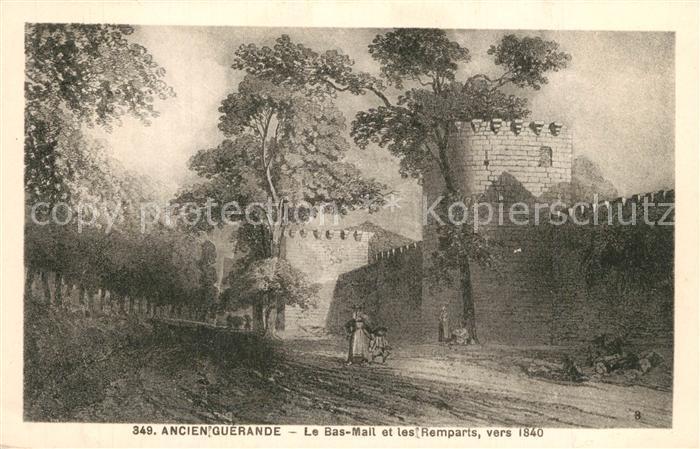 AK / Ansichtskarte Guerande Le Bas Mail et les remparts vers 1840 Dessin Kuenstlerkarte Guerande