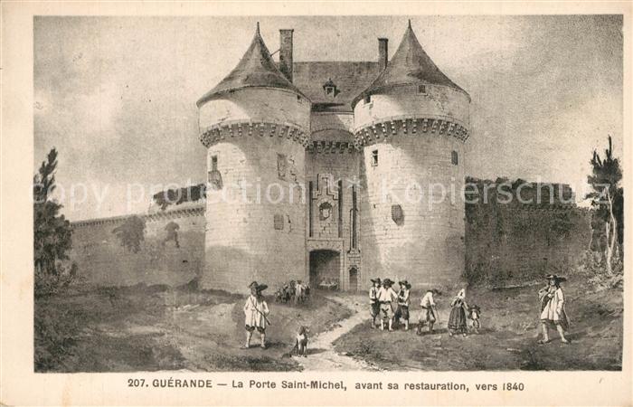 AK / Ansichtskarte Guerande La Porte Saint Michel avant sa restauration vers 1840 Dessin Kuenstlerkarte Guerande
