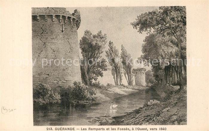 AK / Ansichtskarte Guerande Chateau les remparts et les fosses vers 1840 Dessin Kuenstlerkarte Guerande