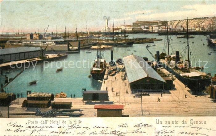 AK / Ansichtskarte Genova_Genua_Liguria Porto dall Hotel de la Ville  Genova_Genua_Liguria