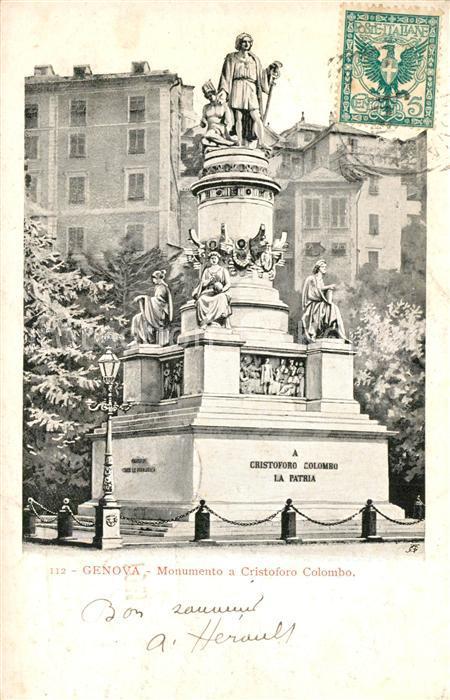 AK / Ansichtskarte Genova_Genua_Liguria Monumento a Cristoforo Colombo Genova_Genua_Liguria
