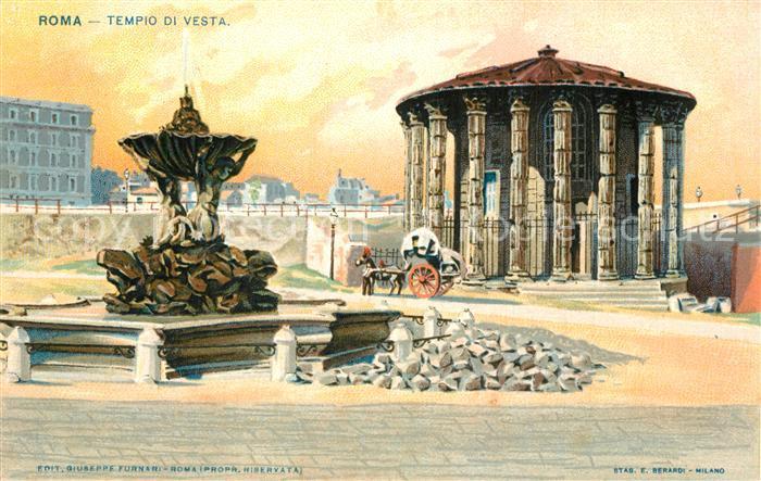 AK / Ansichtskarte Roma_Rom Tempio di Vesta Litho Roma_Rom