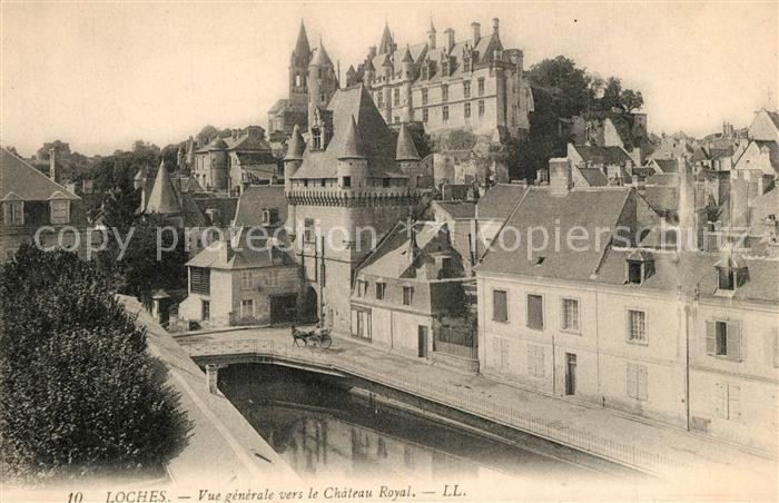 AK / Ansichtskarte Loches_Indre_et_Loire Vue generale vers le Chateau Royal Loches_Indre_et_Loire