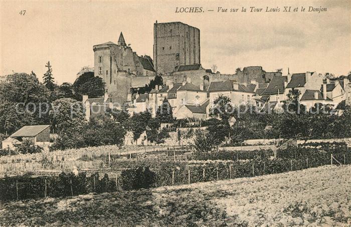 AK / Ansichtskarte Loches_Indre_et_Loire Vue sur la Tour Louis XI et le Donjon Loches_Indre_et_Loire