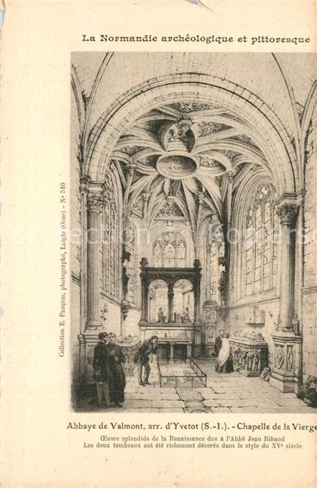 AK / Ansichtskarte Valmont_Seine Maritime Abbaye Chapelle de la Vierge Dessin Kuenstlerkarte Valmont Seine Maritime