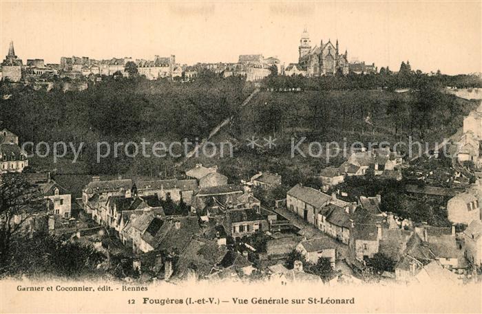 AK / Ansichtskarte Fougeres Vue generale sur Saint Leonard Fougeres