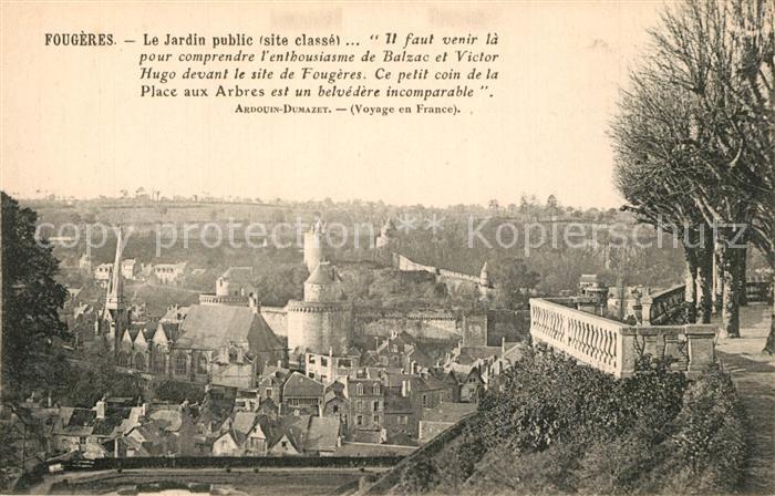 AK / Ansichtskarte Fougeres Jardin public vue sur la ville Chateau Fougeres
