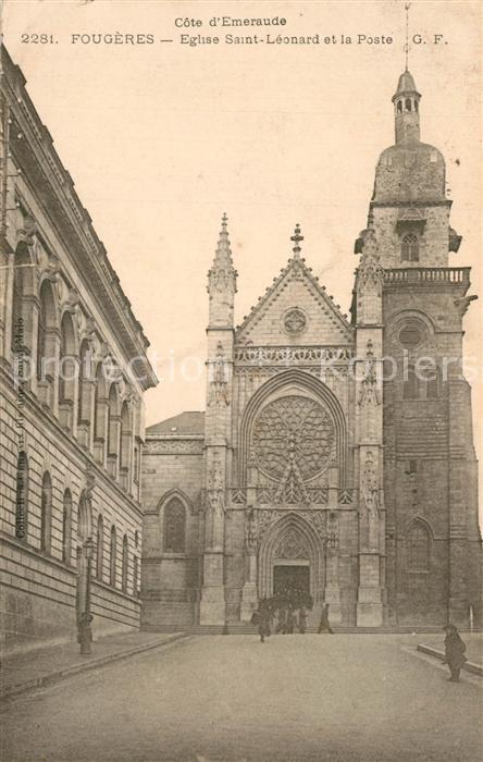 AK / Ansichtskarte Fougeres Eglise Saint Leonard et la Poste Fougeres