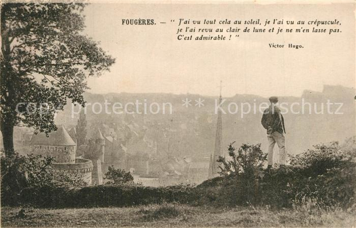 AK / Ansichtskarte Fougeres Vue sur la ville Poesie Victor Hugo Collection du Syndicat d initiatives Cliche A.D. No. 94 Fougeres