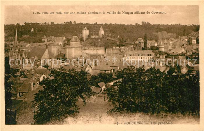 AK / Ansichtskarte Fougeres Vue generale Fougeres