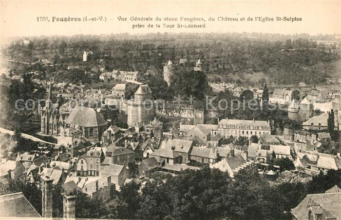 AK / Ansichtskarte Fougeres Vue generale de la vieille ville Chateau Eglise Saint Sulpice Fougeres