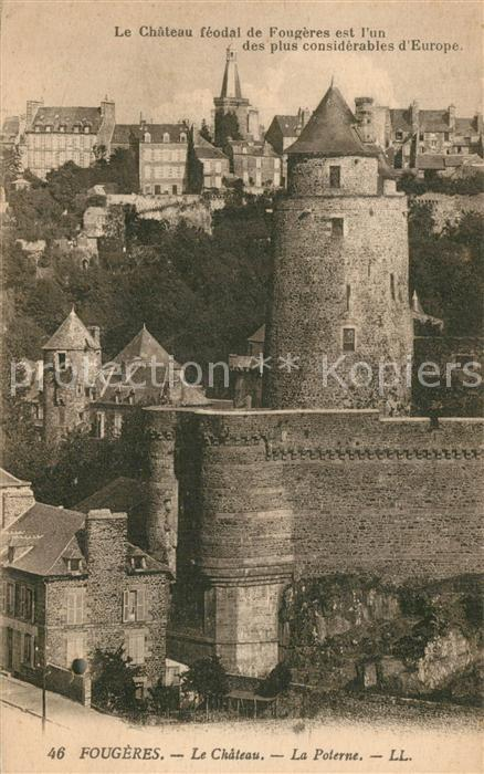 AK / Ansichtskarte Fougeres Chateau feodal Fougeres