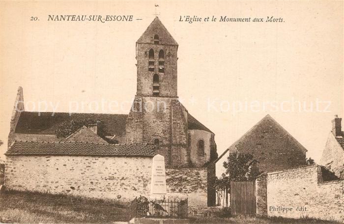 AK / Ansichtskarte Nanteau sur Essonne Eglise et le Monument aux Morts Kirche Kriegerdenkmal Nanteau sur Essonne