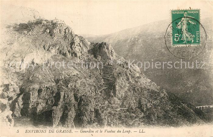 AK / Ansichtskarte Grasse_Alpes_Maritimes Gourdon et le Viaduc du Loup Grasse_Alpes_Maritimes