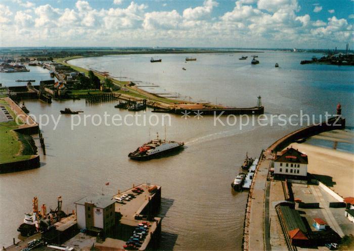 AK / Ansichtskarte Bremerhaven Geestevorhafen mit Blick auf die Weser Bremerhaven