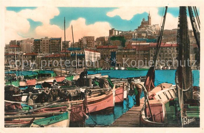 AK / Ansichtskarte Marseille_Bouches du Rhone Un coin du port bateaux de peche Marseille