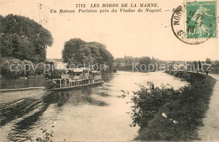 AK / Ansichtskarte Nogent_Haute Marne Bateau Parisien pres du Viaduc Collection Les Bords de la Marne Nogent Haute Marne