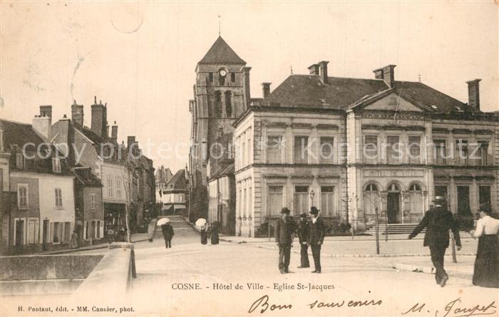 AK / Ansichtskarte Cosne Cours sur Loire Hotel de Ville Eglise Saint Jacques Cosne Cours sur Loire