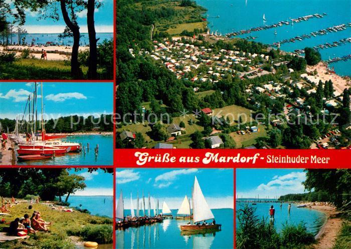 AK / Ansichtskarte Mardorf_Steinhuder_Meer Bootsanlegestelle Segelboote Liegewiese Mardorf_Steinhuder_Meer