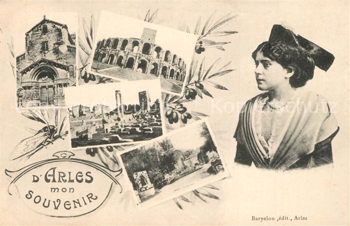 AK / Ansichtskarte Arles_Bouches du Rhone Souvenir de la ville Eglise Ruine Arene Jeune Femme Costumes Arles_Bouches du Rhone