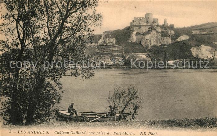 AK / Ansichtskarte Les_Andelys Chateau Gaillard vue prise du Port Morin Bords de la Seine Les_Andelys