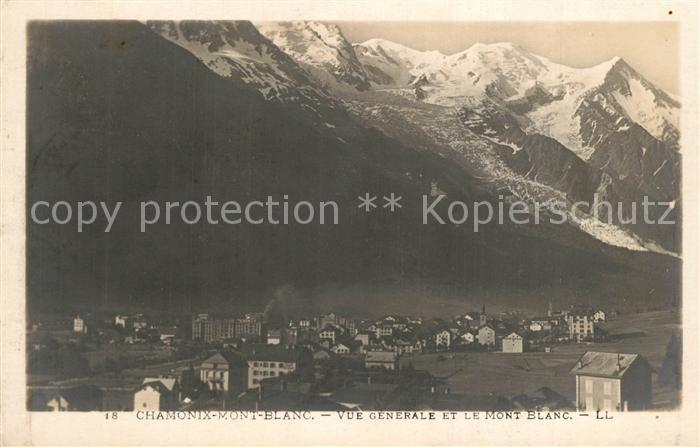 AK / Ansichtskarte Chamonix Vue generale et le Mont Blanc Alpes Francaises Chamonix