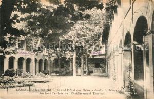 AK / Ansichtskarte Lamalou les Bains Grand Hotel des Bains Jardin interieur au fond Entree de l Etablissement Thermal Lamalou les Bains
