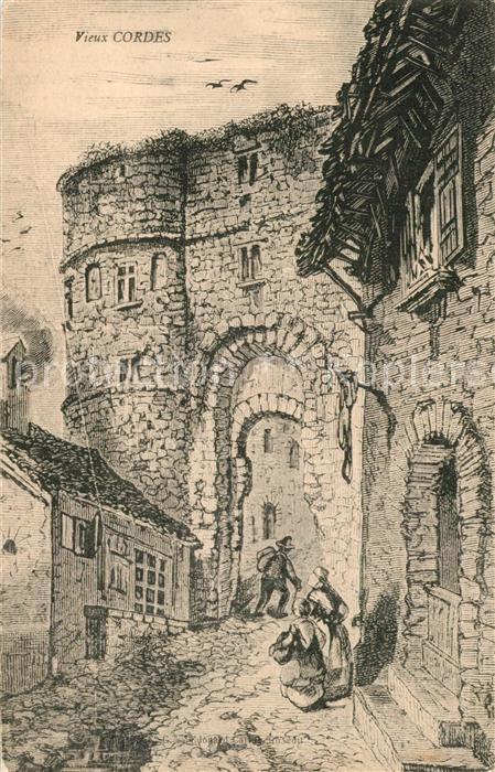 AK / Ansichtskarte Cordes sur Ciel Vieux Cordes Chateau Dessin Kuenstlerkarte Cordes sur Ciel