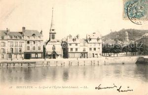 AK / Ansichtskarte Honfleur Quai et l Eglise Saint Leonard Honfleur