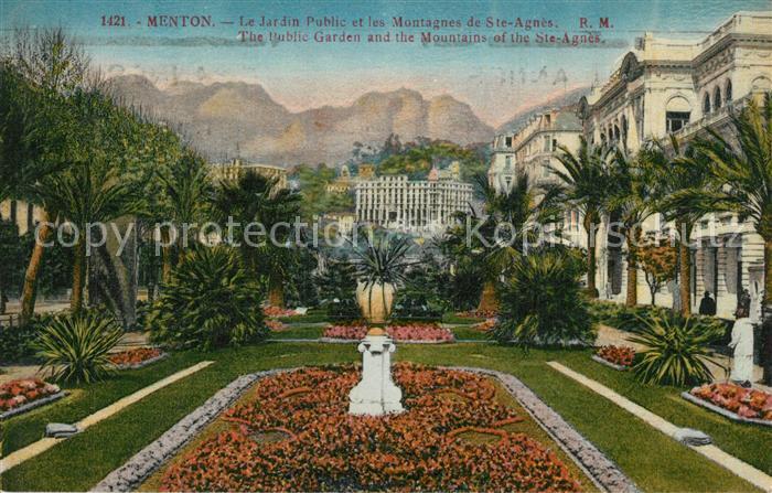 AK / Ansichtskarte Menton_Alpes_Maritimes Jardin Public et les Montagnes de Sainte Agnes Menton_Alpes_Maritimes