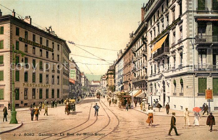 AK / Ansichtskarte Geneve_GE Rue du Mont Blanc Hotel des Bergues  Geneve_GE