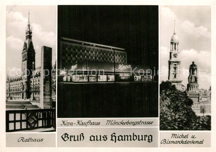 AK / Ansichtskarte Hamburg Rathaus Kepa Kaufhaus Michel und Bismarckdenkmal Hamburg