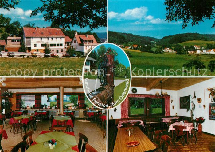 AK / Ansichtskarte Scharbach Gasthaus Pension Zum Odenwald Landschaftspanorama Brunnen Scharbach
